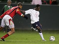 Freddy Adu, USA over Trinidad, 6-1, Wednesday, Jan. 12, 2005, in Carson, California.