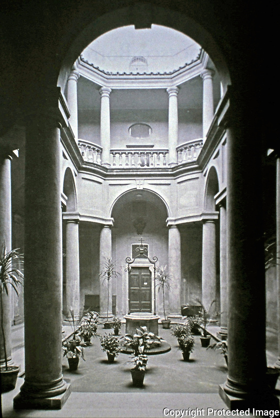 Courtyard of Church of San Carlo alle Quattro Fontane, also called San Carlino, a Roman Catholic church in Rome, Italy. The church was designed by the architect Francesco Borromini.