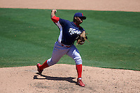 Reading Fightin Phils pitcher Edubray Ramos (11) delivers a pitch during a game against the Bowie Baysox on July 22, 2015 at Prince George's Stadium in Bowie, Maryland.  Bowie defeated Reading 6-4.  (Mike Janes/Four Seam Images)
