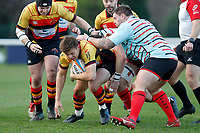 Morgan Ward of Richmond Rugby surges forward during the English National League match between Richmond and Blackheath  at Richmond Athletic Ground, Richmond, United Kingdom on 4 January 2020. Photo by Carlton Myrie.