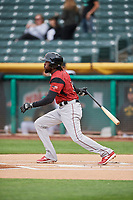Alen Hanson (5) of the Sacramento River Cats bats against the Salt Lake Bees at Smith's Ballpark on April 19, 2018 in Salt Lake City, Utah. Salt Lake defeated Sacramento 10-7. (Stephen Smith/Four Seam Images)