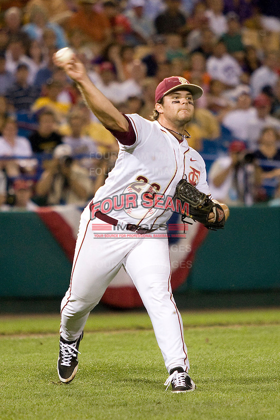 Florida State's Sitz, Scott 2832.jpg against TCU at the College World Series on June 23rd, 2010 at Rosenblatt Stadium in Omaha, Nebraska.  (Photo by Andrew Woolley / Four Seam Images)