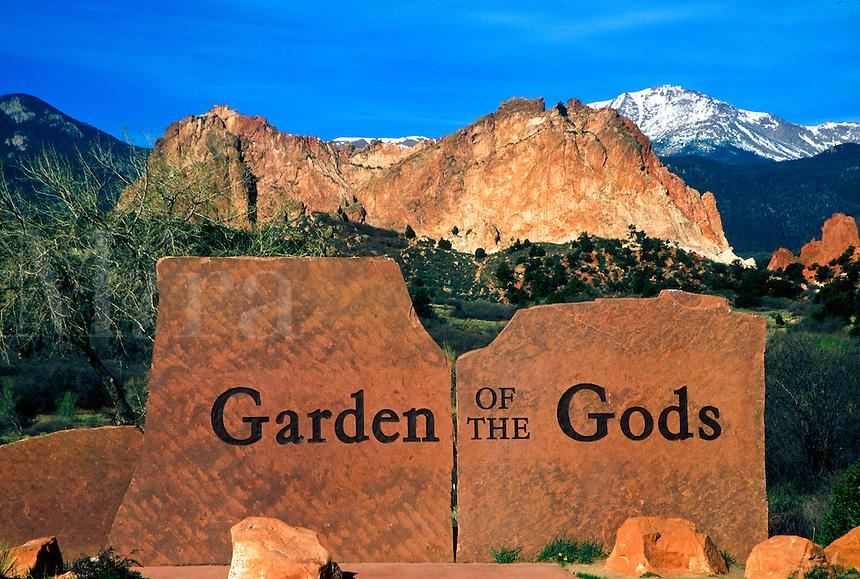 Entrance sign for the Garden of the Gods park in Colorado Springs, Colorado
