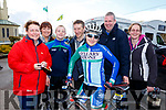 Kanturk Cycling Club attending the the annual John Drum cycling (Juvenile Road race) in Currow on Sunday. On the bike Arnaud Dumoulin.<br /> Back l-r, Mary Claire Coyne, Bina Morely, Nicholas and Pat Tarrant, Laurent Dumoulin and Angela Tarrant.