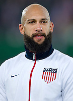 VIENNA, Austria - November 19, 2013: Tim Howard during a 0-1 loss to host Austria during the international friendly match between Austria and the USA at Ernst-Happel-Stadium.