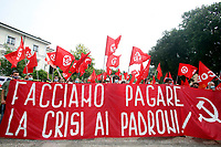 Demonstration of the left wing movements, OSA, Alternative Students Opposition, Power to People, USB, Base Trade Union, Communist Party of Workers outside Villa Pamphilj, where the Italian Premier convened the States General of Economy. Rome (Italy), June 13th 2020<br /> <br /> Photo Samantha Zucchi Insidefoto