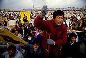 """Inchon, South Korea<br /> December 8 1987<br /> <br /> Crowds cheer for Kim Dea-jong, the opposition leader to the ruling party campaigning during the South Korean presidential elections. <br /> <br /> Kim Dae-jung (3 December 1925 to 18 August 2009) was President of South Korea from 1998 to 2003, and the 2000 Nobel Peace Prize recipient. As of this date Kim is the first and only Nobel laureate to hail from Korea. A Roman Catholic since 1957, he has been called the """"Nelson Mandela of Asia"""" for his long-standing opposition to authoritarian rule."""
