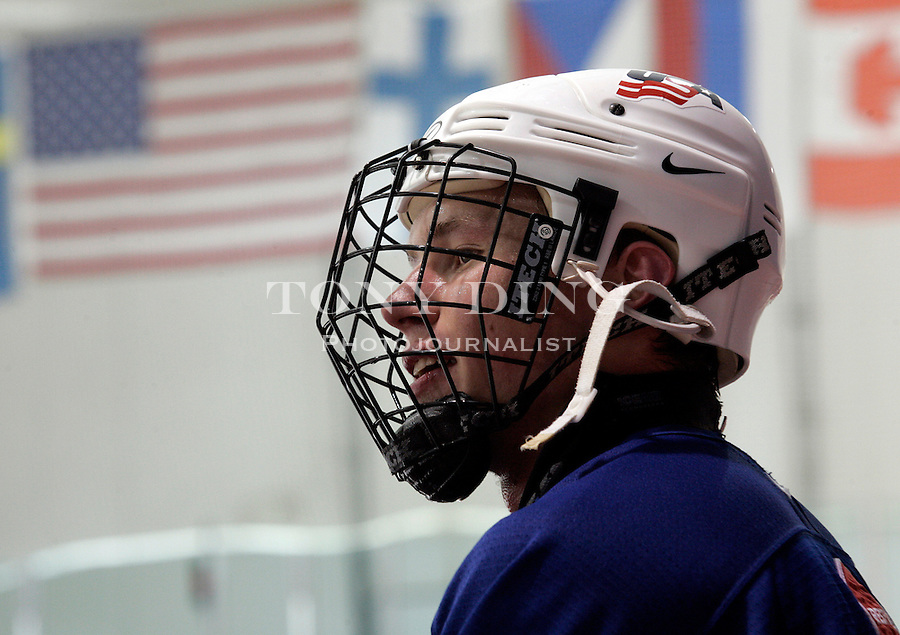 Defenseman Erik Johnson of the U.S. Under-18 Hockey Team watches his teammates from the bench during team practice on Wednesday, May 10, 2006 in Ann Arbor, MI. Johnson is expected to be the No. 1 pick in the 2006 NHL Draft. TONY DING/Special to the Free Press