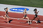 13 JUNE 2015: Amalie Iuel of USC, Sage Watson of Florida State and Carmiesha Cox of Purdue run their leg of the Women's 4X400 meter relay during the Division I Men's and Women's Outdoor Track & Field Championship held at Hayward Field in Eugene, OR. Florida won the event in a time of 3:28.12. Steve Dykes/ NCAA Photos