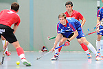 Mannheim, Germany, January 18: During the 1. Bundesliga Herren Hallensaison 2014/15 Sued hockey match between Mannheimer HC (blue) and TSV Mannheim (red) on January 18, 2015 at Irma-Roechling-Halle in Mannheim, Germany. Final score 4-6 (4-4). (Photo by Dirk Markgraf / www.265-images.com) *** Local caption *** Christian Trump #12 of Mannheimer HC