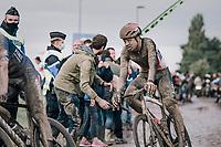Florian Vermeersch (BEL/Lotto Soudal) exiting the Carrefour de l'Arbre<br /> <br /> 118th Paris-Roubaix 2021 (1.UWT)<br /> One day race from Compiègne to Roubaix (FRA) (257.7km)<br /> <br /> ©kramon