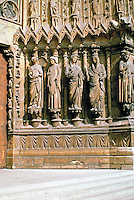 Detail of The Cathedral of Our Lady in west portal of Reims Cathedral, Reims, France. Gothic design