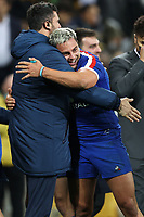 13th July 2021; AAMI Park, Melbourne, Victoria, Australia; International test rugby, Australia versus France;  France players celebrate their win by 26-28 points