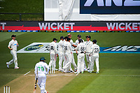 The Black Caps celebrate a wicket to Kyle Jamieson during day four of the second International Test Cricket match between the New Zealand Black Caps and Pakistan at Hagley Oval in Christchurch, New Zealand on Wednesday, 6 January 2021. Photo: Dave Lintott / lintottphoto.co.nz