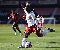 2nd April 2021; Vitality Stadium, Bournemouth, Dorset, England; English Football League Championship Football, Bournemouth Athletic versus Middlesbrough; Neeskens Kebano of Middlesbrough takes a shot at goal