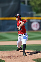 Erie Seawolves relief pitcher Paul Voelker (3) delivers a warmup pitch during a game against the Altoona Curve on July 10, 2016 at Jerry Uht Park in Erie, Pennsylvania.  Altoona defeated Erie 7-3.  (Mike Janes/Four Seam Images)