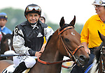 09 May 16:  Mike Smith walks Kentucky Derby winner Mine That Bird in the post parade before finishing a closing second to filly Rachel Alexandra in the 134th running of the grade 1 Preakness Stakes for three year olds at Pimlico Race Track in Baltimore, Maryland.