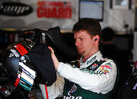 Feb 20, 2009; Fontana, CA, USA; NASCAR Sprint Cup Series driver Dale Earnhardt Jr during practice for the Auto Club 500 at Auto Club Speedway. Mandatory Credit: Mark J. Rebilas-
