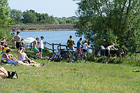 Ardingly, ENGLAND. 25.05.2020<br /> .<br /> People gather in groups to enjoy the sun during the bank holiday Monday Covid-19 lockdown with government guidelines to social distance  at Ardingly Reservoir, Ardingly, West Sussex, England at  on 25 May 2020. Photo by Alan Stanford.