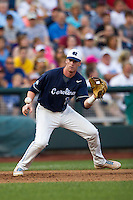 North Carolina third baseman Colin Moran (18) on defense during Game 10 of the 2013 Men's College World Series against the North Carolina State Wolfpack on June 20, 2013 at TD Ameritrade Park in Omaha, Nebraska. The Tar Heels defeated the Wolfpack 7-0, eliminating North Carolina State from the tournament. (Andrew Woolley/Four Seam Images)