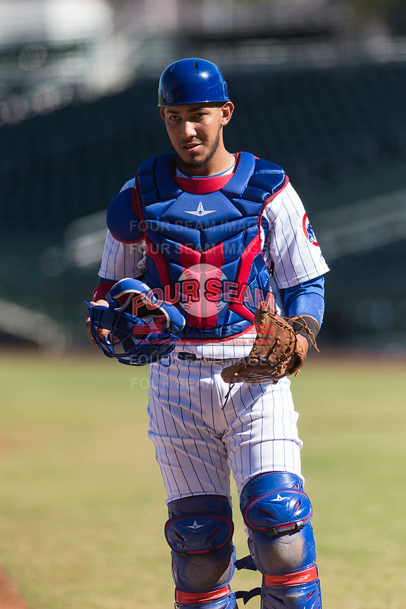 Mesa Solar Sox catcher Jhonny Pereda (6), of the Chicago Cubs organization, during an Arizona Fall League game against the Salt River Rafters at Sloan Park on October 30, 2018 in Mesa, Arizona. Salt River defeated Mesa 14-4 . (Zachary Lucy/Four Seam Images)