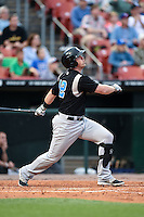 Syracuse Chiefs first baseman Tyler Moore (12) at bat during a game against the Buffalo Bisons on July 23, 2014 at Coca-Cola Field in Buffalo, New  York.  Syracuse defeated Buffalo 5-0.  (Mike Janes/Four Seam Images)