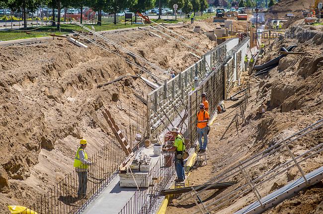 Jul. 11, 2014; Construction of new utility tunnels, summer 2014.<br /> <br /> Photo by Matt Cashore/University of Notre Dame