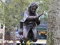 A new Harry Potter Quidditch statue in Leicester Square, London which has joined the eight other movie statues in the 'Scenes in the Square'. London October 14th 2020<br /> CAP/ROS<br /> ©ROS/Capital Pictures