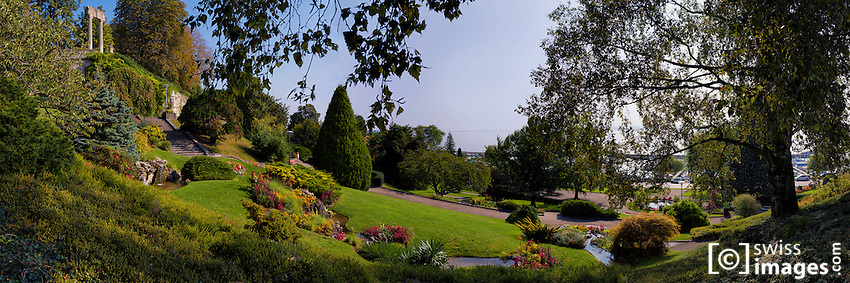 """View of the park """"Bourg-de-Rive"""" in Nyon, Switzerland"""
