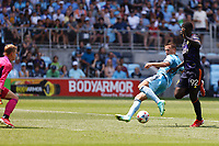 ST PAUL, MN - JULY 18: Robin Lod #17 of Minnesota United FC and Abdoulaye Cissoko #92 of the Seattle Sounders FC battle for the ball during a game between Seattle Sounders FC and Minnesota United FC at Allianz Field on July 18, 2021 in St Paul, Minnesota.