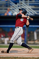 Mahoning Valley Scrappers first baseman Mitch Reeves (1) follows through on a swing during the second game of a doubleheader against the Batavia Muckdogs on September 4, 2017 at Dwyer Stadium in Batavia, New York.  Mahoning Valley defeated Batavia 6-2.  (Mike Janes/Four Seam Images)