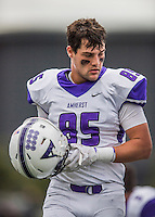 8 October 2016: Amherst College Purple & White Tight End Beau Santero, a Junior from New Canaan, CT, is attentive to coaching on the sidelines during a game against the Middlebury College Panthers at Alumni Stadium in Middlebury, Vermont. The Panthers edged out the Purple & While 27-26. Mandatory Credit: Ed Wolfstein Photo *** RAW (NEF) Image File Available ***