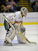 16 November 2008: University of Vermont Catamount goaltender Mike Spillane, a Junior from Bow, NH, in action against the Merrimack College Warriors at Gutterson Fieldhouse in Burlington, Vermont. The Catamounts defeated the Warriors 2-1 in Hockey East play...Mandatory Photo Credit: Ed Wolfstein Photo