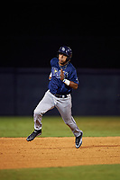 Francisco Thomas (17) of Osceola High School in Kissimmee, Florida playing for the Tampa Bay Rays scout team during the East Coast Pro Showcase on July 29, 2015 at George M. Steinbrenner Field in Tampa, Florida.  (Mike Janes/Four Seam Images)