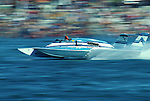 Legendary Unlimited Hydro racer Bill Muncey, driving his Atlas Van Lines boat, speeds around Fiesta Isle in in San Diego's Mission Bay during one of his last races before his fatal crash while leading a race in Mexico in 1981.