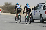 Sky Procycling riders Michael Barry (CAN) and Jeremy Hunt (GBR) take up the rear of the peloton at the first bonus sprint point near Umm Al Qahab during Stage 3 of the 2012 Tour of Qatar running 146.5km from Dukhan Souq, Dukhan to Al Gharafa, Qatar. 7th February 2012.<br /> (Photo Eoin Clarke/Newsfile)