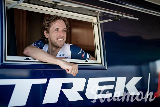 """old boy"" Koen de Kort (NED/Trek - Segafredo) realaxed before his Time Trial<br /> <br /> 91st Baloise Belgium Tour 2021 (BEL/2.Pro)<br /> Stage 2 (ITT) from Knokke-Heist to Knokke-Heist (11.2km)<br /> <br /> ©kramon"