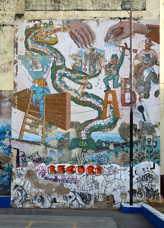 An outdoor mural depicting anti-corruption, Leon, Nicaragua