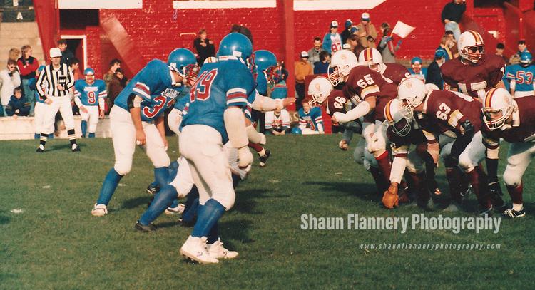 Photographer: Unknown<br /> <br /> 26th October 1986<br /> <br /> Doncaster Jaguars v Rotherham Redskins - American Football<br /> <br /> Doncaster Rover's Belle Vue stadium.