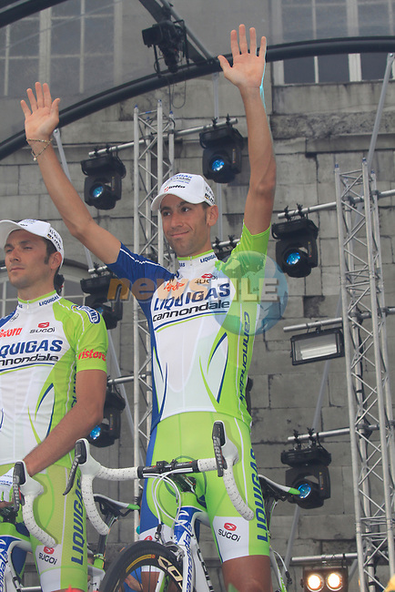 Liquigas-Cannondale team rider Vincenzo Nibali (ITA) on stage at the Team Presentation Ceremony before the 2012 Tour de France in front of The Palais Provincial, Place Saint-Lambert, Liege, Belgium. 28th June 2012.<br /> (Photo by Eoin Clarke/NEWSFILE)