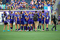 Orlando, Florida - Sunday, May 8, 2016: The Pride huddle following their 2-0 victory of a National Women's Soccer League match between Orlando Pride and Seattle Reign FC at Camping World Stadium.