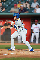 Brandon Hughes (11) of the South Bend Cubs follows through on his swing against the Lansing Lugnuts at Cooley Law School Stadium on June 15, 2018 in Lansing, Michigan. The Lugnuts defeated the Cubs 6-4.  (Brian Westerholt/Four Seam Images)