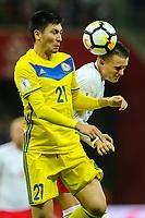 04.09.2017, Warszawa, pilka nozna, kwalifikacje do Mistrzostw Swiata 2018, Polska - Kazachstan, Piotr Zielinski (POL), Abzal Beysebekov (KAZ), Poland - Kazakhstan, World Cup 2018 qualifier, football, fot. Tomasz Jastrzebowski / Foto Olimpik<br /><br />POLAND OUT !!!! *** Local Caption *** +++ POL out!! +++<br /> Contact: +49-40-22 63 02 60 , info@pixathlon.de