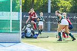 Mannheim, Germany, October 18: During the 1. Bundesliga women fieldhockey match between Mannheimer HC (red) and Uhlenhorst Muelheim (green) on October 18, 2020 at Am Neckarkanal in Mannheim, Germany. Final score 1-0 (HT 0-0). (Copyright Dirk Markgraf / www.265-images.com) *** Agustina Había #5 of Mannheimer HC