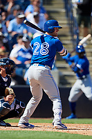 Toronto Blue Jays first baseman Billy McKinney (28) at bat during a Grapefruit League Spring Training game against the New York Yankees on February 25, 2019 at George M. Steinbrenner Field in Tampa, Florida.  Yankees defeated the Blue Jays 3-0.  (Mike Janes/Four Seam Images)