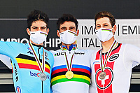 IMOLA, ITALIA - SEPTEMBER 25 : VAN AERT Wout (BEL), GANNA Filippo (ITA), KUNG Stefan (SUI) during the Men Elite Individual Time Trial at the UCI 2020 Road World Championships cycling race in Emilia Romagna Imola, Italia, 25/09/2020 <br /> Imola 25/09/2020 <br /> Campionati Mondiali Ciclismo 2020 <br /> Cronometro <br /> Photo Vincent Kalut/Photonews/Panoramic/Insidefoto <br /> ITALY ONLY