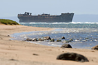 "Lanai's ghostly shipwreck viewed from the properly named, """"Shipwreck Beach"