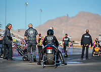 Nov 1, 2019; Las Vegas, NV, USA; NHRA pro stock motorcycle rider Jianna Salinas during qualifying for the Dodge Nationals at The Strip at Las Vegas Motor Speedway. Mandatory Credit: Mark J. Rebilas-USA TODAY Sports