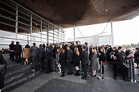 """Pictured: Hundreds of people attend the service outside the Senedd. Wednesday 31 May 2017<br />Re: The funeral for former first minister Rhodri Morgan has taken place in the Senedd in Cardiff Bay.<br />The ceremony, which was open to the public, was conducted by humanist celebrant Lorraine Barrett.<br />She said the event was """"a celebration of his life through words, poetry and music"""".<br />Mr Morgan, who died earlier in May aged 77, served as the Welsh Assembly's first minister from 2000 to 2009.<br />He was credited with bringing stability to the fledgling assembly during his years in charge.<br />It is understood Mr Morgan had been out cycling near his home when he died."""