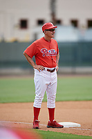 GCL Phillies East manager Roly de Armas (8) during a game against the GCL Blue Jays on August 10, 2018 at Carpenter Complex in Clearwater, Florida.  GCL Blue Jays defeated GCL Phillies East 8-3.  (Mike Janes/Four Seam Images)